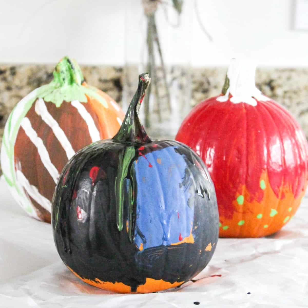 Kid Painted Pumpkins At Home With Zan