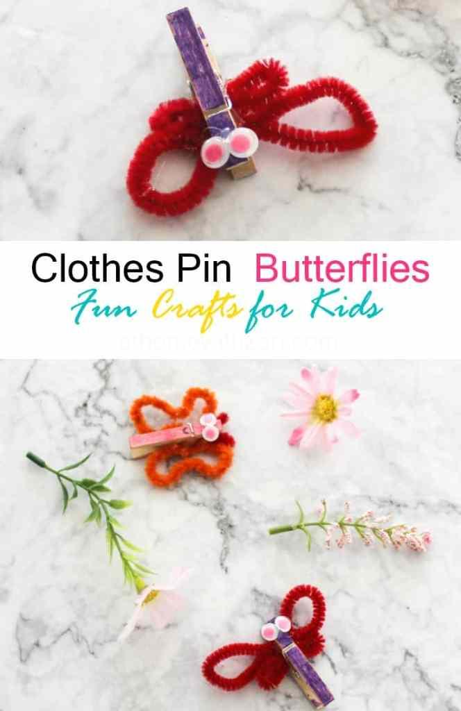 Clothespin Butterflies Crafts - Athomewithzan.com