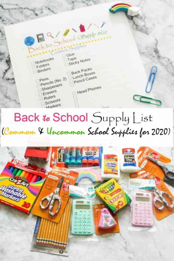Back to School Supply Lists - 2020 School Supply List - athomewithzan.com