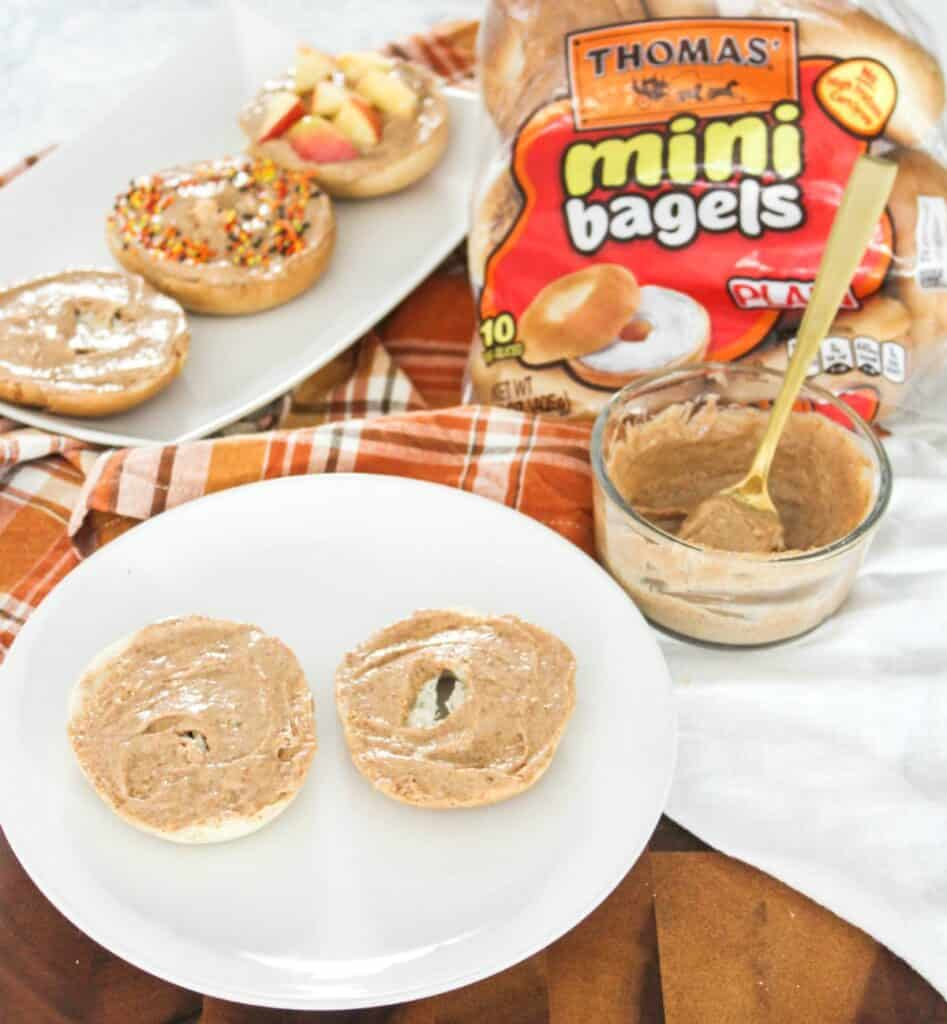 Cinnamon Cream Cheese Snack Bagels for Fall- athomewithzan.com