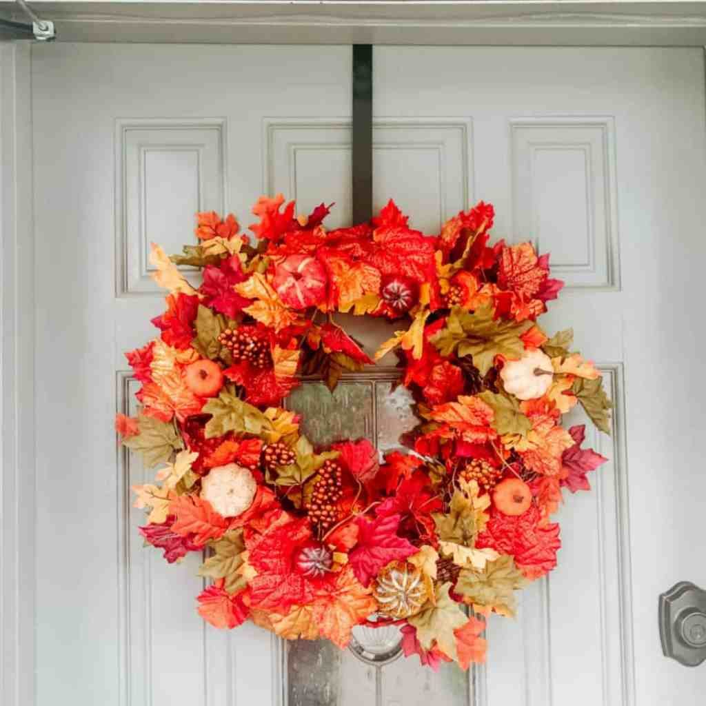 How to Create an Easy Fall Front Door Wreath - Fall Wreath Video - athomewithzan.com
