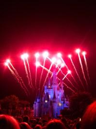 Begin series of Disney fireworks behind Cinderella's Castle
