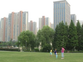 This wide lawn is a common picnic and play site