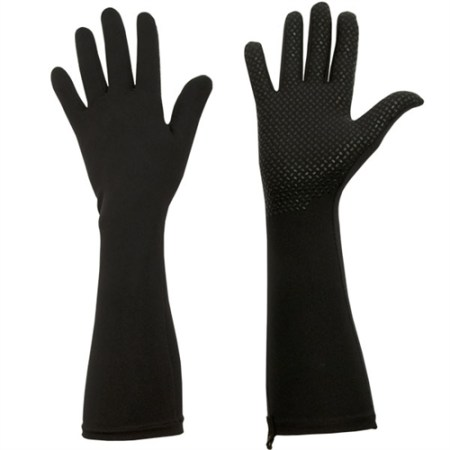 black, elbow length protective UV gloves with silicone grip