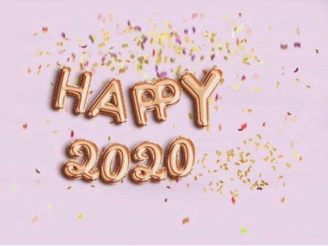 Image of Happy New Year 2020 with golden letters and confetti with a pastel pink background