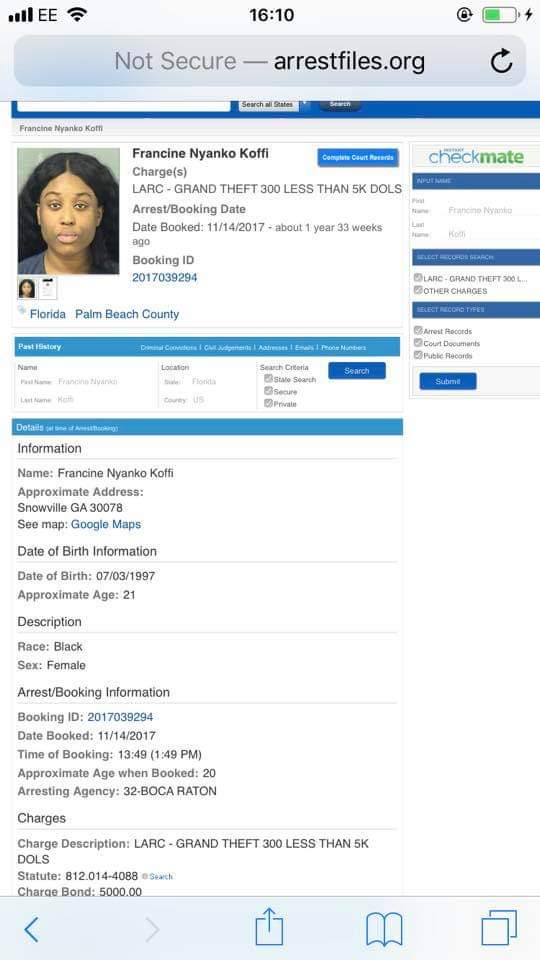 Fantana arrest documents