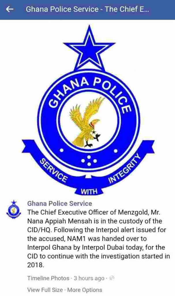 Ghana Police statement on Nam1 arrest