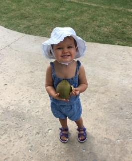 She found a fallen coconut