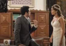 Beto (João Baldasserini) e Tancinha (Mariana Ximenes) em 'Haja Coração' (Globo)