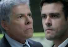 Cláudio (José Mayer) e Enrico (Joaquim Lopes) em 'Império' (Globo)