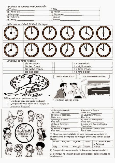 Atividades de inglês 6° ano 6