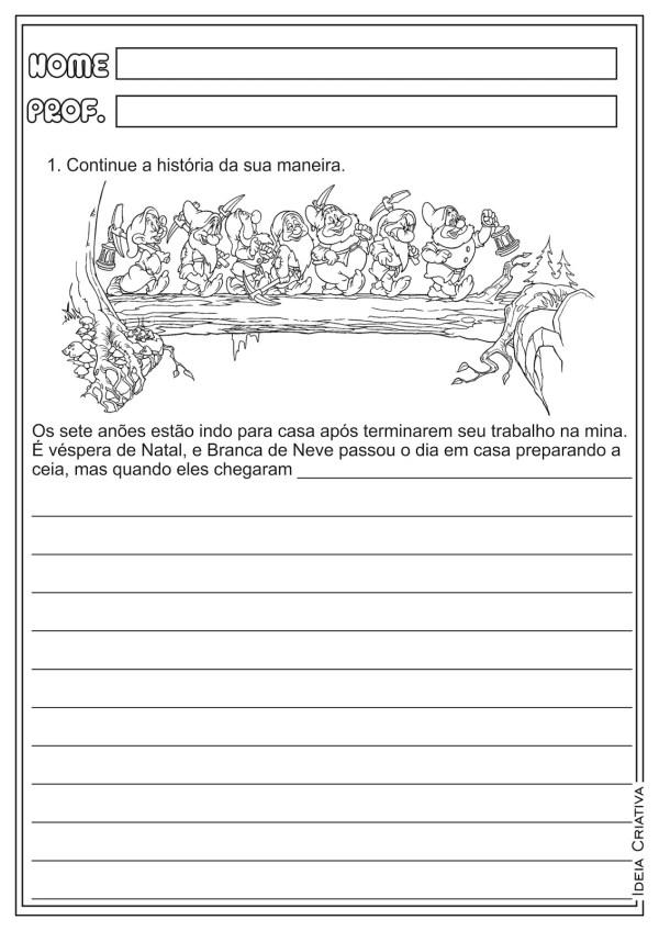 atividades-educativas-producao-de-texto-natal-a-branca-de-neve-e-os-sete-anoes-natal-producao-textual-lingua-portuguesa-ideia-criativa-ensino-fundamental