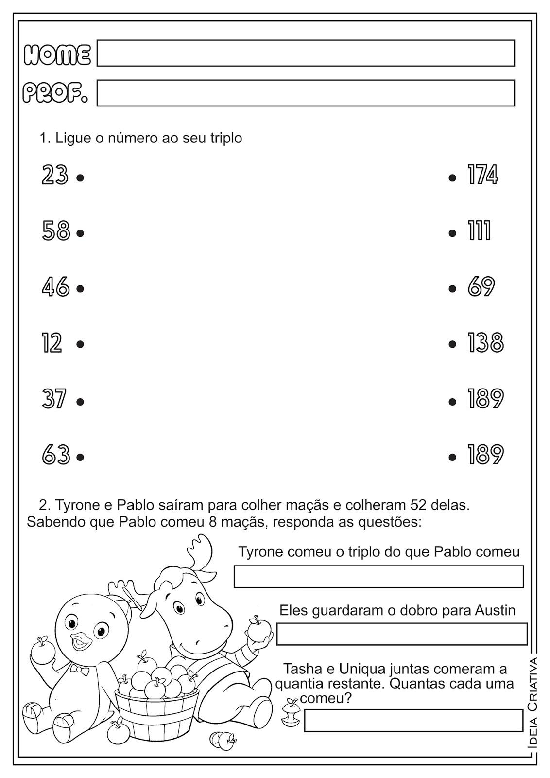 Suficiente Atividades de matemática sobre: metade, dobro e triplo  YC43