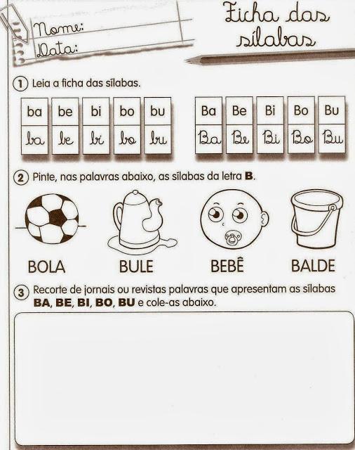 exercicios alfabetizacao