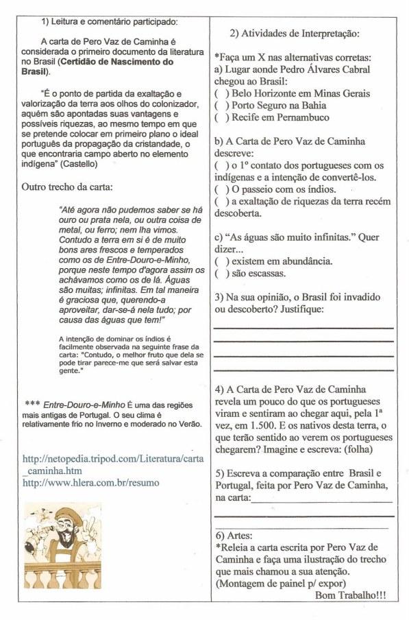 Carta de Pero Vaz de Caminha - Interpretação - Exercicios