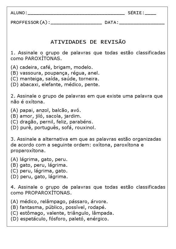 atividade paroxitonas