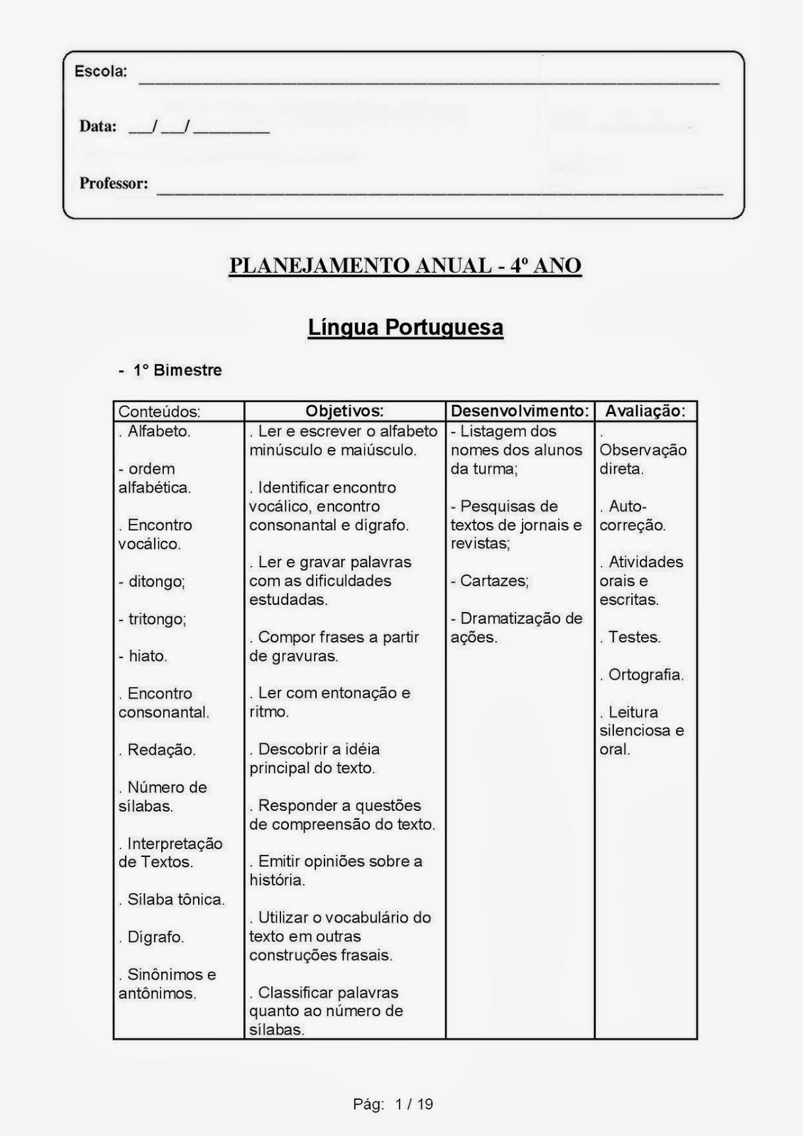 Modelo de plano de aula interdisciplinar