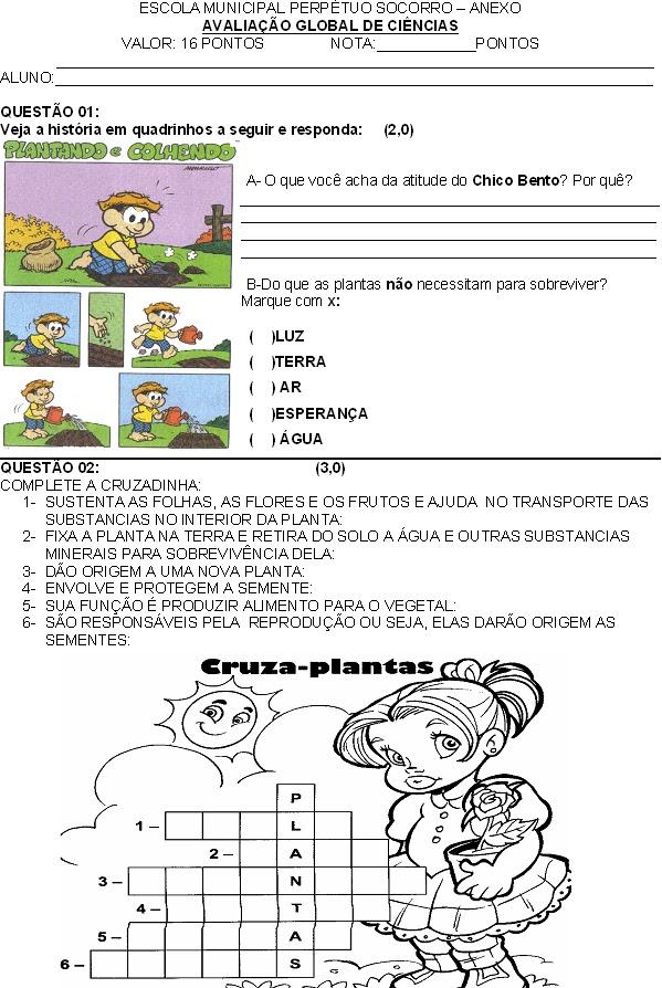 AVALIAÇÃO DE CIÊNCIAS SOBRE PLANTAS E ANIMAIS