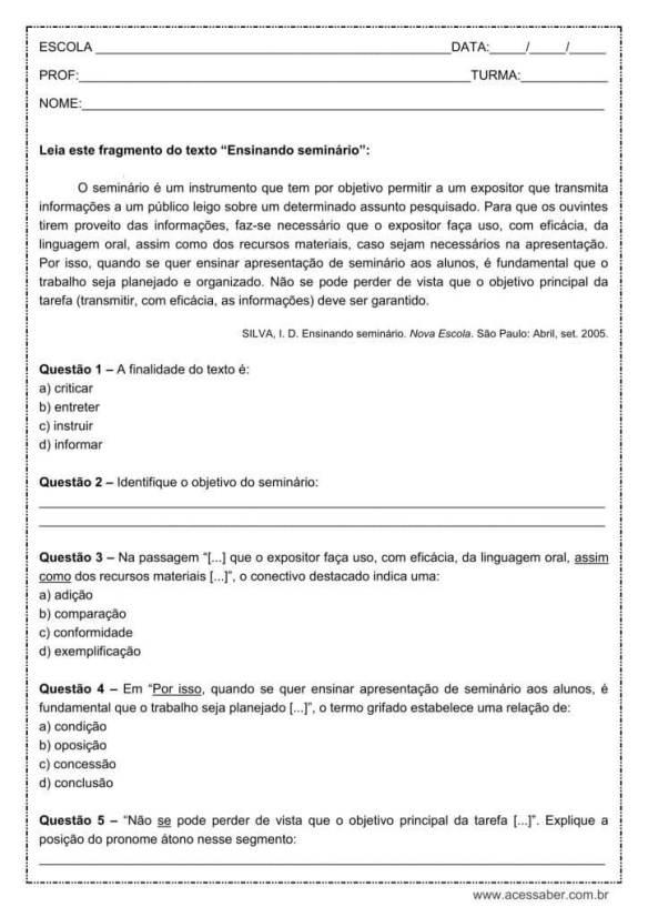 Atividades de Português Sobre Colocação Pronominal