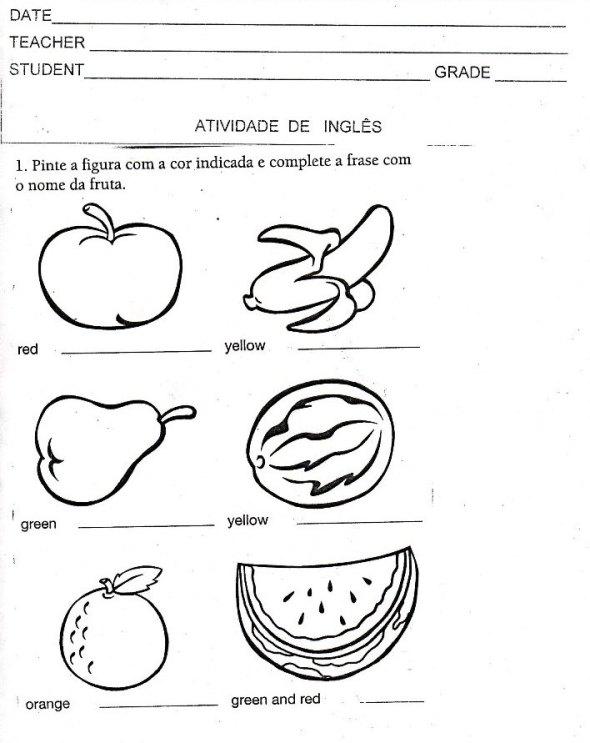 ATIVIDADES DE INGLÊS SOBRE FRUIT