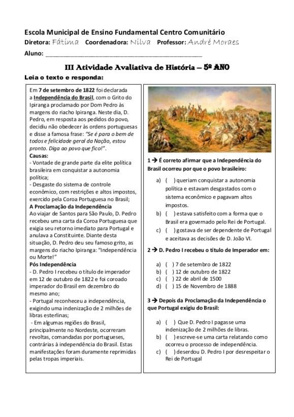 AVALIAÇÕES DE HISTÓRIA PARA O 5º ANO