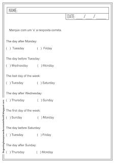 atividades de ingles meses do ano