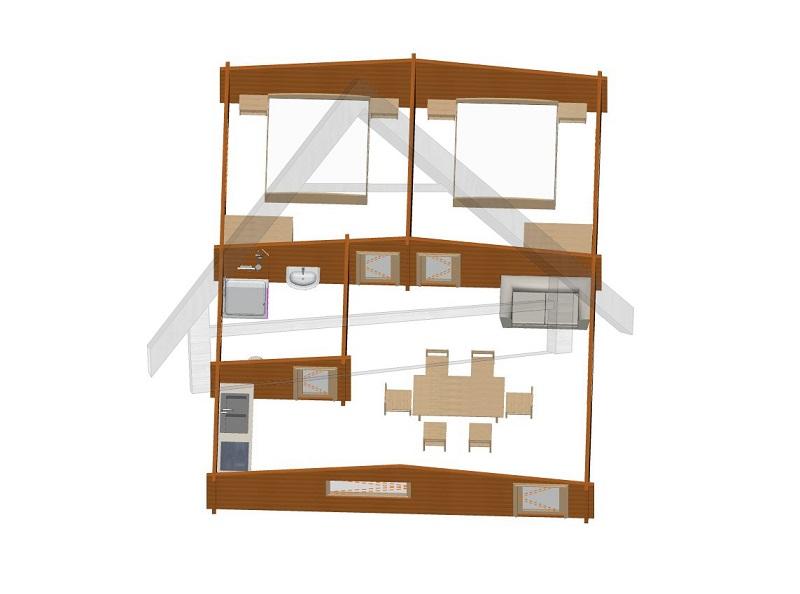 casa con dos habitación 8,4x 6,8 - AtiWood