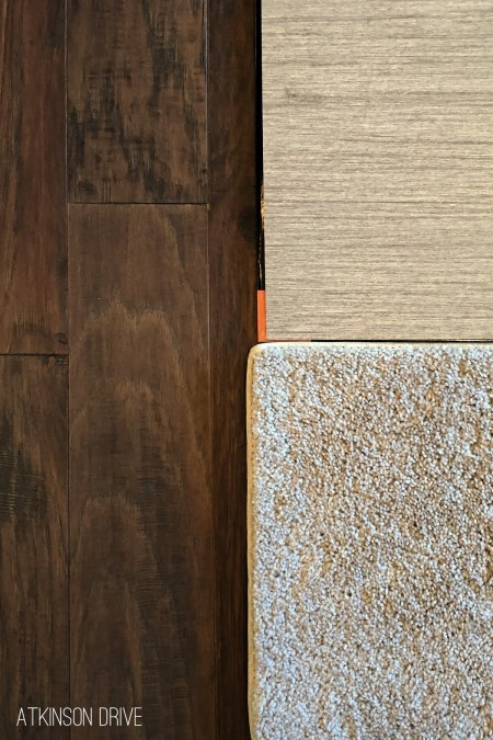 New home design options for hardwood floors, laminate vinyl tile, and carpets. There are so many choices to consider when selecting new home design options, so we want to share a few of our favorite finishes for a transitional / modern home! /// Atkinson Drive