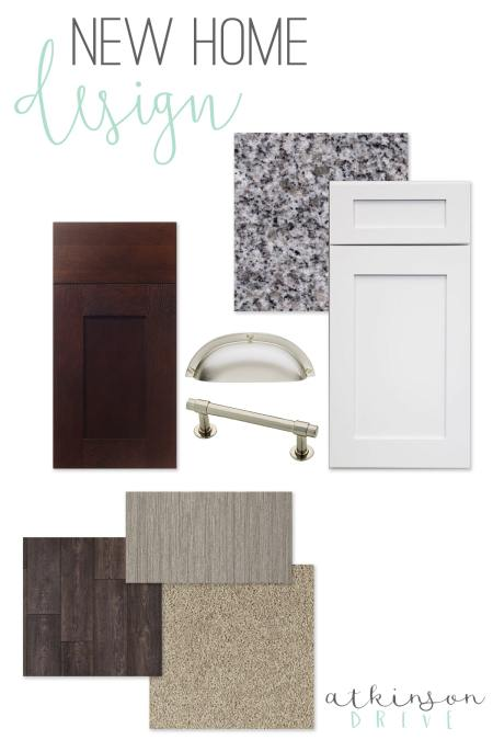 There are so many choices to consider when selecting new home design options, so we want to share this transitional / modern home mood board! /// Atkinson Drive