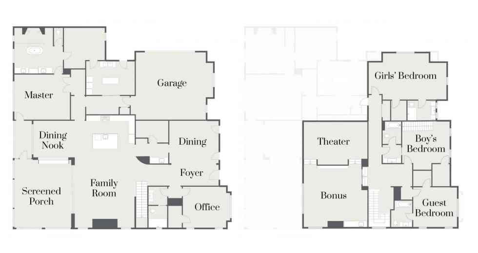 Floorplan for a 5 bedroom 5 bathroom home designed by Woodridge Homes in Tennessee /// atkinsondrive.com