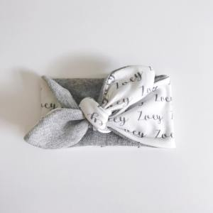 Little girls will love sporting this wide organic cotton head wrap with their name on it! Personalized with your favorite colors and font /// atkinsondriveorganics.com