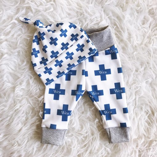 """Swiss cross is a fun, modern print that also gives a nod to tradition. Show off your little one's style and name with this organic cotton personalized """"Emeryville"""" legging and beanie set /// atkinsondriveorganics.com"""