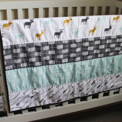 Wholecloth Mint Woodland Crib Quilt