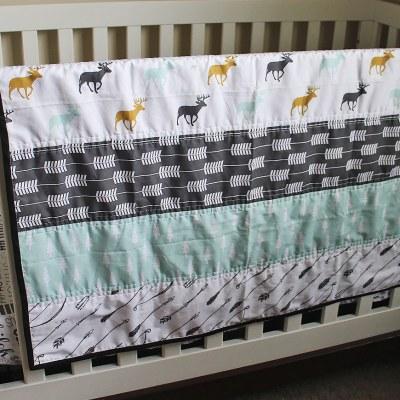 Wholecloth Mint Woodland Crib Quilt