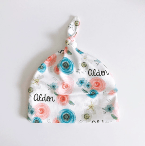 Personalized Baby Girl Name Beanie with Watercolor Flowers /// atkinsondriveorganics.com