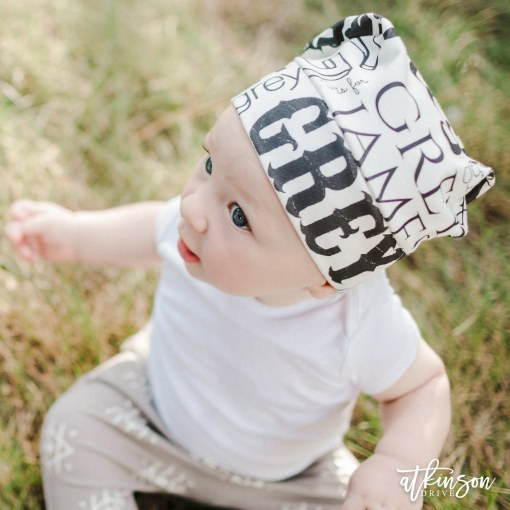 Customize the right accessory for yourself or your little one with the Atkinson Drive Organics personalized slouch beanie!