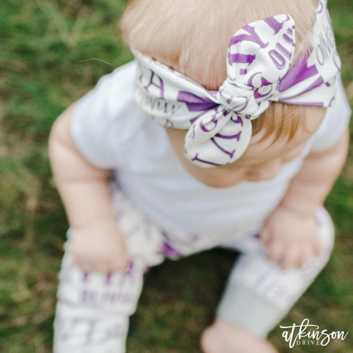 Add some pizazz to your little one's wardrobe with the Atkinson Drive Organics personalized top knot headband!