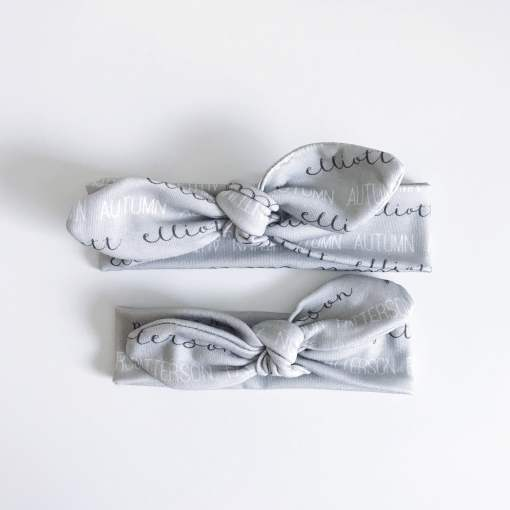 Spruce up your little one's wardrobe with an Atkinson Drive Organics personalized headband! Tie the knot to make the perfect size.