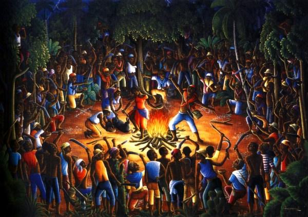1990-andre-normil-ceremonie-du-bois-caiman-huile-sur-toile-102x152-cm-collection-particuliere-port-au-prince
