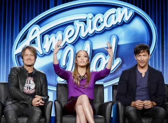 """Judges Keith Urban, Jennifer Lopez, and Harry Connick, Jr. of """"American Idol"""" take part in Fox Broadcasting Company's part of the Television Critics Association Winter 2014 presentations in Pasadena"""