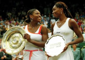Williams sisters after 2003 Wimbledon, won by Serena (left).