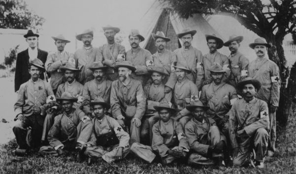 Boer War, Indian Ambulance Corps (Gandhi is in middle row, fifth from left)