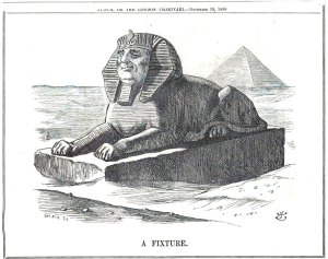 Political Cartoon of a Sphinx with an Anglo-Saxon face
