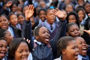 Schoolchildren-sing-Happy-Birthday
