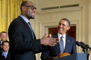 LeBron James with President Obama.