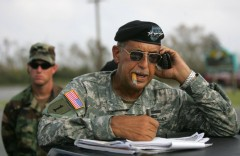 In a photo from 2005, Lt. Gen. Russel Honoré talks on a cell phone in Louisiana, following hurricanes Katrina and Rita. (Photo By: Carlos Barria/Reuters/Newscom)