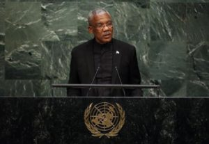 President of Guyana David Granger addresses attendees during a plenary meeting of the United Nations Sustainable Development Summit at the United Nations Headquarters in Manhattan, New York September 25, 2015. REUTERS/Andrew Kelly