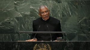 President David Arthur Granger of Guyana addresses attendees during the 70th session of the United Nations General Assembly at the U.N. Headquarters in New York
