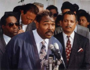Rodney King appears at a news conference. Photo courtesy of Mercury News/Daily News file photo