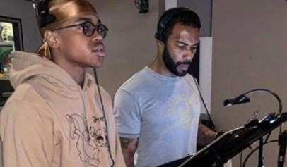 Michael Rainey Jr. and Omari Hardwick seen in the recording studio together.